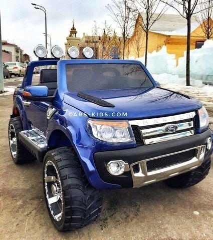 Электромобиль Ford Ranger черный глянец (АКБ 12v10ah, 2х местный, колеса резина, сиденье кожа, пульт, музыка)