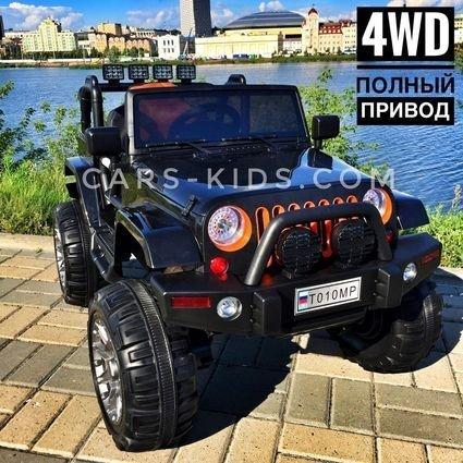 Электромобиль Jeep Wrangler белый (полный привод, усиленный аккумулятор, резиновые колеса, кожаное кресло, пульт, музыка)