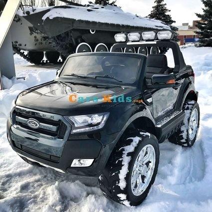 Электромобиль Ford Ranger F650 4WD черный (2х местный, колеса резина, кресло кожа, пульт, музыка)